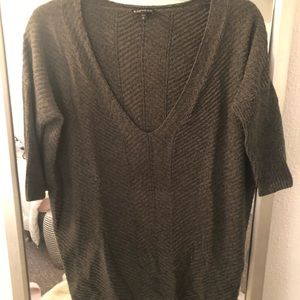 Express Marled Knit Green V Neck Sweater S